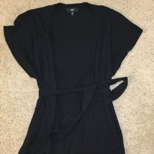 Black, Long, Short-Sleeved Cardigan Sweater